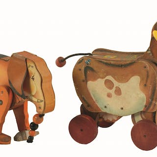 One is an early 1930s wind-up Elephant with original tail...