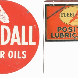 Lot Consists Of: Kendall Motor Oils Double Sided Tin Curb Sign