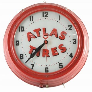 A very nice example of this advertising clock for Atlas...