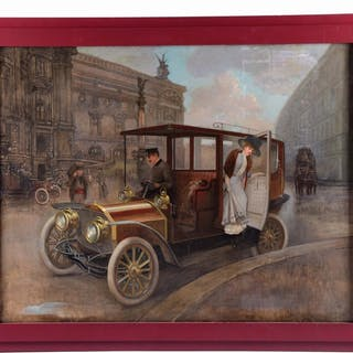 Shows early automobile driven by chauffeur with woman exiting rear door of car