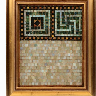 Framed portion of a Tiffany Studios mosaic panel has...