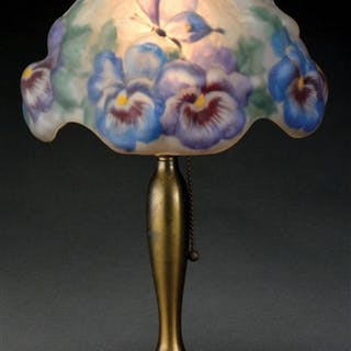 Pairpoint boudoir lamp has puffy shade with purple