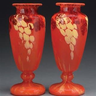 Pair of Charles Schneider vases in the Jades pattern show...