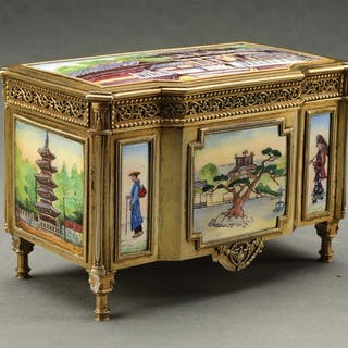 Enameled with scenes on all sides of Oriental subjects with exquisite detail