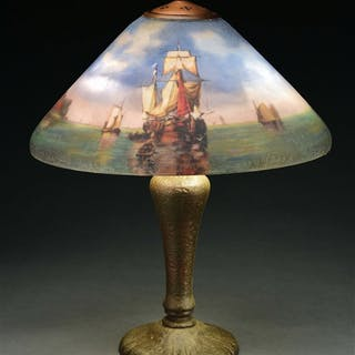 Beautiful scenic lamp with harbor
