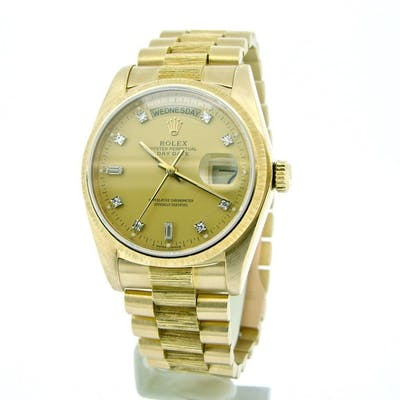 Mens Rolex 18K Gold Day-Date President Champagne Diamond 18078 (SKU 8220758MT)