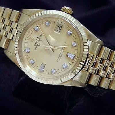 Pre Owned Mens Rolex Yellow Gold Diamond Date with a Gold/Champagne