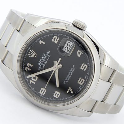 Mens Rolex Stainless Steel Datejust Arabic Black 116200 (SKU 116200ARMT)