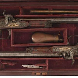 A CASED PAIR OF PERCUSSION SAW-HANDLED DUELLING OR TARGET PISTOLS