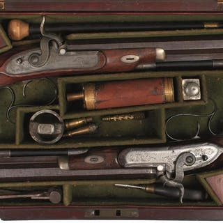 A CASED PAIR OF 28-BORE PERCUSSION DUELLING OR TARGET PISTOLS BY FIELD