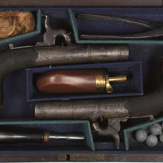 A FINE CASED PAIR OF 54-BORE SILVER MOUNTED PERCUSSION BOXLOCK POCKET