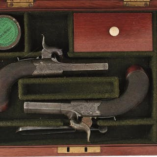 A CASED PAIR OF 54-BORE PERCUSSION BOXLOCK POCKET PISTOLS BY WESTLEY