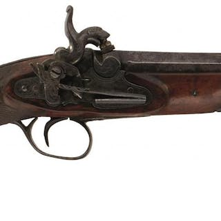 A .650 CALIBRE CARBINE BORE SPANISH PERCUSSION BELT PISTOL, 4.75inch