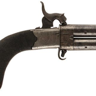 AN 80-BORE PERCUSSION TURNOVER POCKET PISTOL, 2inch turn-off barrels