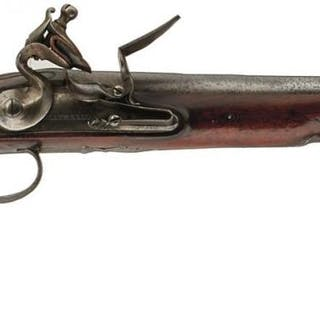 AN 18TH CENTURY 18-BORE FLINTLOCK HOLSTER PISTOL BY COLUMBELL, 10inch