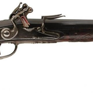 A PAIR OF 25-BORE FRENCH DOUBLE BARRELLED SILVER MOUNTED FLINTLOCK