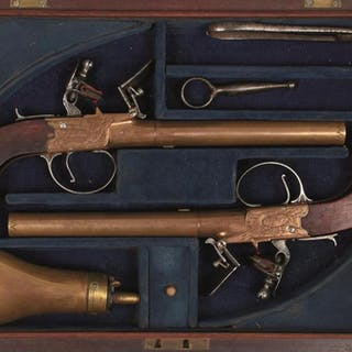 A CASED PAIR OF 54-BORE FLINTLOCK BOXLOCK BRONZE RIFLED POCKET PISTOLS