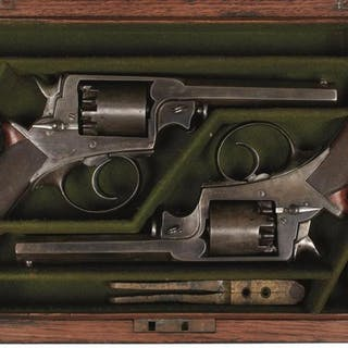 A RARE CASED PAIR OF 120-BORE 5-SHOT PERCUSSION ADAMS REVOLVERS RETAILED