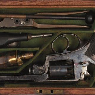 A CASED 120-BORE FIVE-SHOT PERCUSSION LONDON ARMS COMPANY BEAUMONT