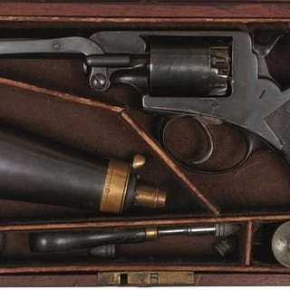 A CASED 54-BORE FIVE-SHOT PERCUSSION LONDON ARMS COMPANY BEAUMONT