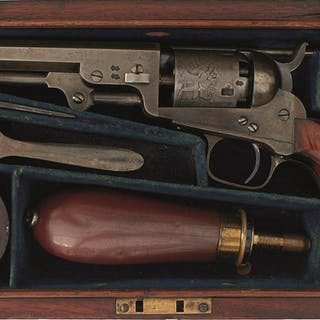 A CASED .31 CALIBRE FIVE-SHOT PERCUSSION LONDON COLT MODEL 1849 POCKET