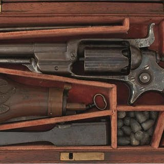 A CASED .31 CALIBRE FIVE-SHOT PERCUSSION COLT MODEL 1855 OR ROOT SIDEHAMMER
