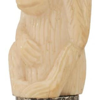 A WALKING CANE, the 19th century ivory handle carved as a monkey with