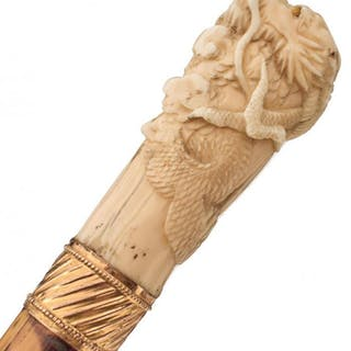 A 19TH CENTURY IVORY HANDLED SWORD STICK, 73cm square section blade