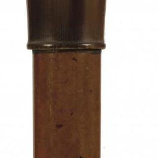 A LATE 19TH CENTURY WALKING CANE, the ivory pommel carved as a double