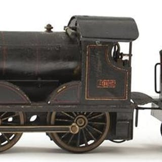 A BING LIVE STEAM LSWR LOCOMOTIVE AND TENDER NO. 1902, the black painted