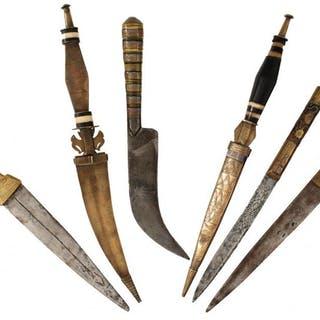 SIX VARIOUS TRIBAL KNIVES OR DAGGERS, each with brass or copper mounted