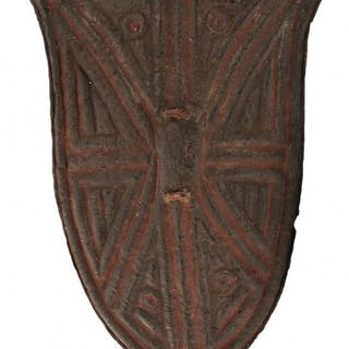 A 19TH CENTURY AFRICAN TRIBAL SHIELD, of characteristic shield-shape