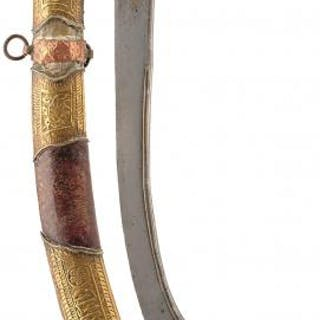 A 19TH CENTURY INDIAN PALA OR SWORD, 69cm sharply curved T-section