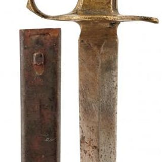 A FIRST WAR PERIOD AMERICAN BRASS TENCH OR FIGHTING KNIFE, 15.5cm