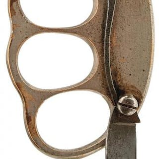A FIRST WAR PERIOD PRIVATE PURCHASE TRENCH KNUCKLE KNIFE, of plated