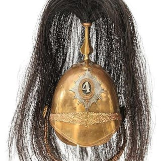 A GOOD HALF SIZE SCALE COPY OF A 4TH DRAGOONS TROOPER'S HELMET, the