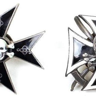 TWO IMPERIAL RUSSIAN 5TH HUSSARS BADGES, each composed of black and