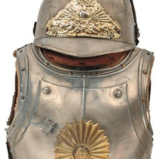 AN EARLY 20TH CENTURY FRENCH CUIRASSIER OUTFIT FOR A CHILD, comprising