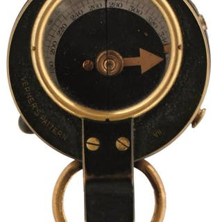 A 1915 DATED MARCHING COMPASS AND CASE, the reverse War Department