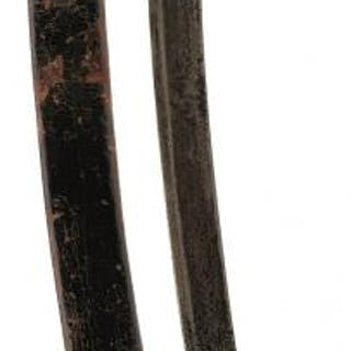 A CONTINENTAL SHORT SABRE, 65cm curved fullered blade stamped with