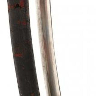 A VICTORIAN POLICE SIDEARM, 60cm curved fullered blade, regulation
