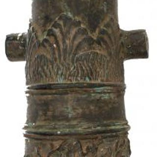 A HOLLOW CAST BRONZE CANNON, 24.5inch over all length, multi-stage