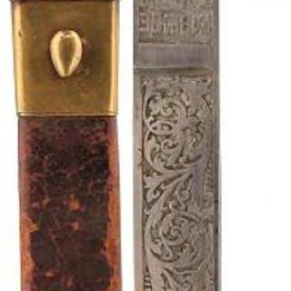 A 19TH CENTURY SPANISH PLUG BAYONET, 16cm Toledo blade decorated with