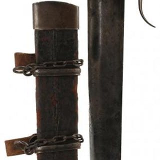 A LANDSKNECHT OR LANSQUINET DAGGER, 34.5cm tapering single edged blade