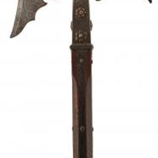 A GERMAN HALBERD, of characteristic form, etched with scrolling foliage