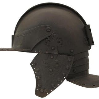 A GOOD COPY OF A NORTH EUROPEAN ZISCHAGGE OR LOBSTER TAILED HELMET