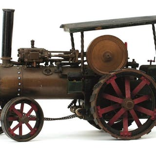 A SCRATCH BUILT MODEL LIVE STEAM ENGINE, painted in green, red and