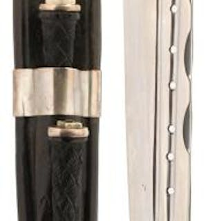 A SILVER MOUNTED SCOTTISH DIRK, 29.5cm double fullered blade with