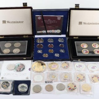 A selection of copper plated and cupro nickel commemorative coins