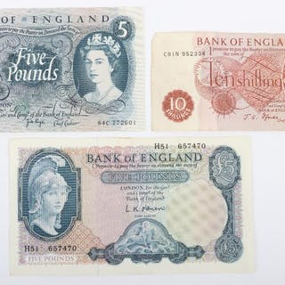 Two Five Pounds notes